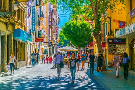 PALMA DE MALLORCA, SPAIN, MAY 18, 2017:View of a narrow street in the historical center of Palma de Mallorca, Spain
