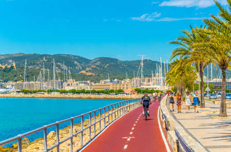 PALMA DE MALLORCA, SPAIN, MAY 18, 2017: Seaside promenade at Palma de Mallorca, Spain