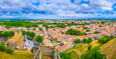 Aerial view of Modern Carcassonne, France Stock fotó