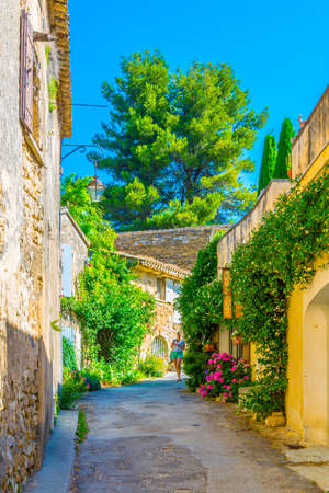 Narrow street in Oppede le Vieux village in France