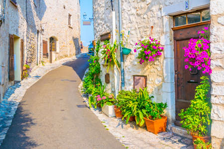 A narrow street in the old town of Saint Paul de Vence, France