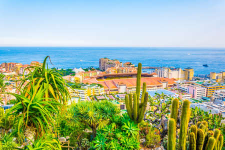 Aerial view of Stade Louis II in Monaco from Jardin exotique