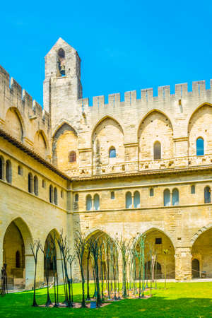 Inner courtyard of Palais de Papes in Avignon, France Stok Fotoğraf
