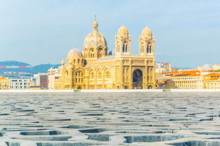 Cathedral La Major viewed over Mucem Museum of European and Mediterranean Civilisations at Marseille, France 免版税图像