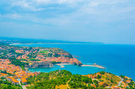 Aerial view of Collioure and its royal castle, France