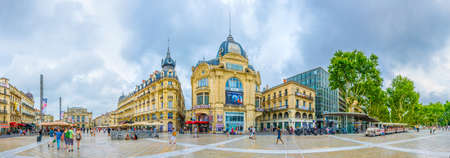 MONTPELLIER, FRANCE, JUNE 25, 2017: People are strolling on the place de la comedie in central Montpellier, France