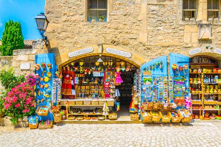 LES BAUX DE PROVENCE, JUNE 21, FRANCE 2017: View of a narrow street in the historical center of Les Baux de Provence, France