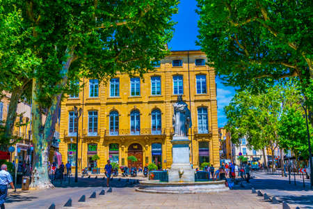 AIX-EN-PROVENCE, FRANCE, JUNE 18, 2017: statue of King Roi Renee situated at the top of the main Cours Mirabeau at Aix-en-Provence