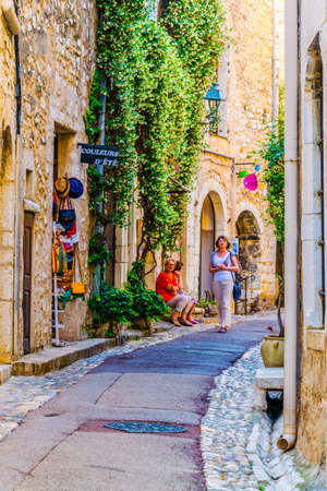 SAINT PAUL DE VENCE, FRANCE, JUNE 13, 2017: A narrow street in the old town of Saint Paul de Vence, France