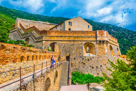 VILLEFRANCHE DE CONFLENT, FRANCE, JUNE 27, 2017: Fort Liberia overlooking Villefranche de Conflent village in France Redakční