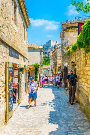LES BAUX DE PROVENCE, JUNE 21, FRANCE 2017: View of a narrow street in the historical center of Les Baux de Provence, France Editorial