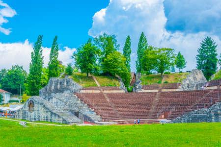 Roman theatre at Augusta Raurica, a former roman settlement near Basel, Switzerland