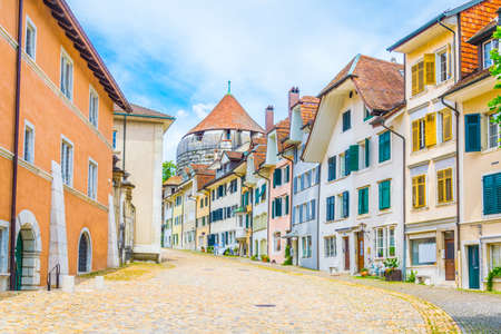 Colorful facades of traditional houses in the center of Solothurn, Switzerland