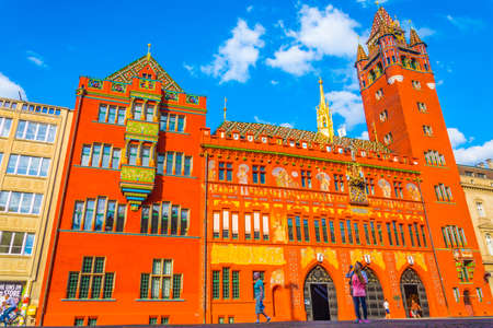 Red town hall in Basel, Switzerland