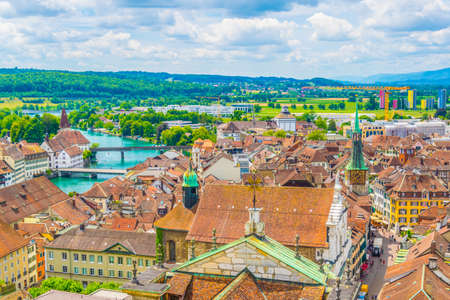 Aerial view of the historical center of Solothurn, Switzerland