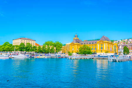 Museum of Art and History behind the port at Neuchatel, Switzerland