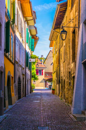 View of a narrow street in the old town of Lutry, Switzerland