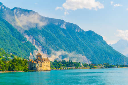 Chillon castle situated on shore of the Geneva lake in Switzerland