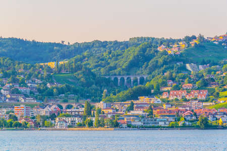 Lutry town situated on shore of Geneva lake in Switzerland