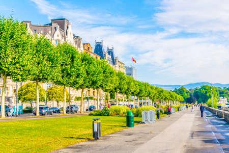 Promenade stretched along historical buildings in Geneva, Switzerland Imagens