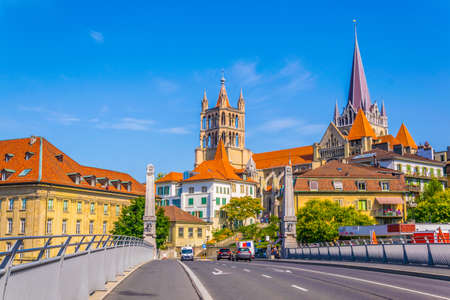 Lausanne gothic cathedral Behind Charles Bessieres bridge, Switzerland