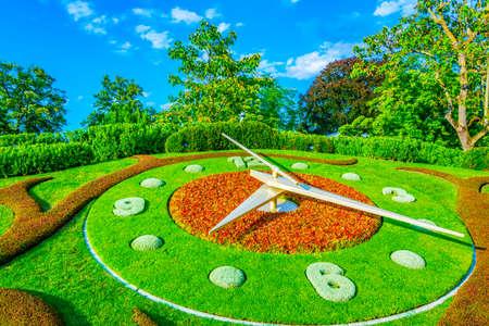 Flower clock in the swiss city Geneva