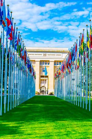 Edificio del Palacio de las Naciones - sede de las Naciones Unidas - en Ginebra, Suiza. Editorial