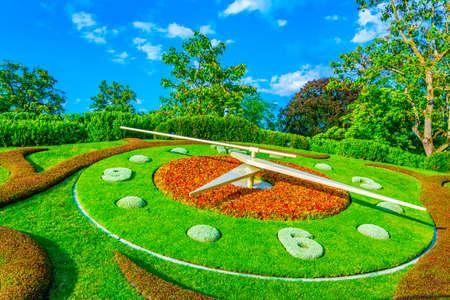 Flower clock in the swiss city Geneva Imagens