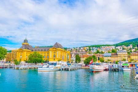 NEUCHATEL, SWITZERLAND, JULY 16, 2017: Museum of Art and History behind the port at Neuchatel, Switzerland Редакционное
