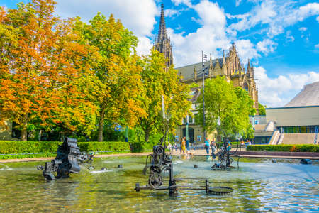 BASEL, SWITZERLAND, JULY 14, 2017: Tinguely fountain in the center of Basel, Switzerland