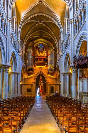 LAUSANNE,  SWITZERLAND, JULY 19, 2017: Interior of the cathedral of our lady in Lausanne in Switzerland