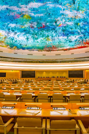 GENEVA, SWITZERLAND, JULY 20, 2017: An assembly hall in the Palace of Nations - UN headquarters in Geneva, Switzerland