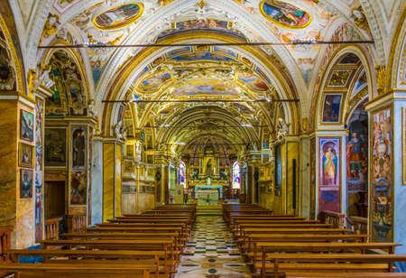 LOCARNO, SWITZERLAND, JULY 26, 2017: Interior of Santuario della Madonna del Sasso in Locarno, Switzerland