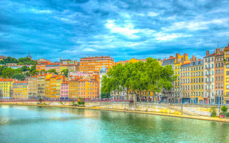 Riverside of Saone river in Lyon during a sunny summer day, France