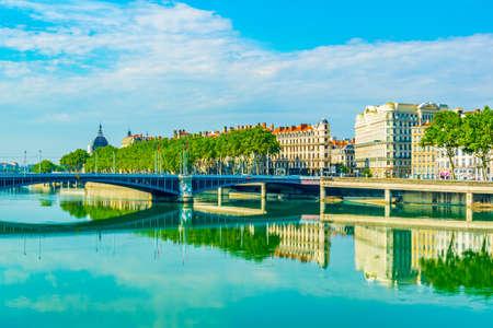 Riverside of Rhone river in Lyon, France Reklamní fotografie