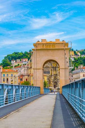 Pedestrian bridge over river Rhone in Vienne, France