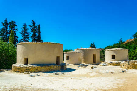 Reconstructed neolithic dwellings at Choirokoitia, Cyprus