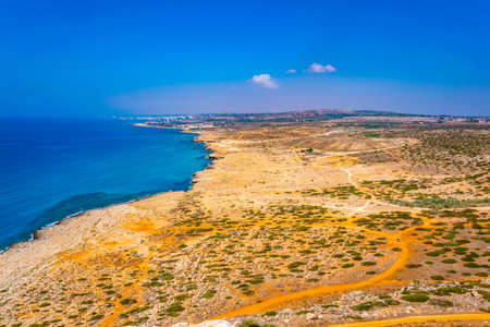 Aerial view of Ayia Napa from Cape Greco national park on Cyprus