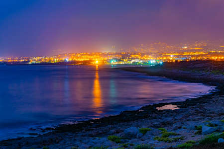 Night view of Paphos on Cyprus