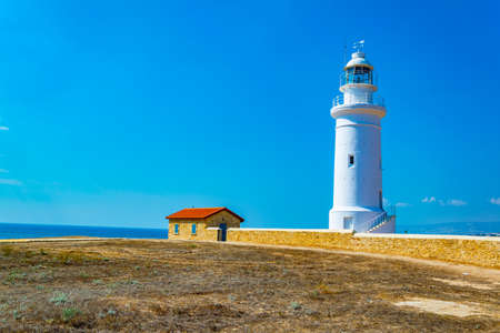 White lighthouse situated in Paphos Archaeological Park on Cyprus Stock fotó