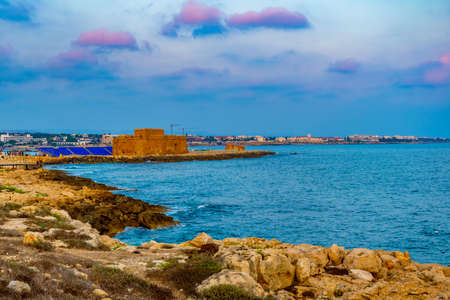 Sunset view of Paphos castle on Cyprus Editorial