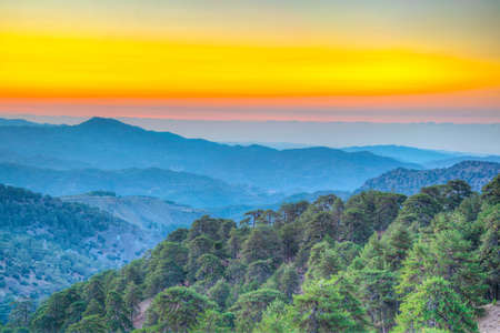 Sunrise over Troodos mountains