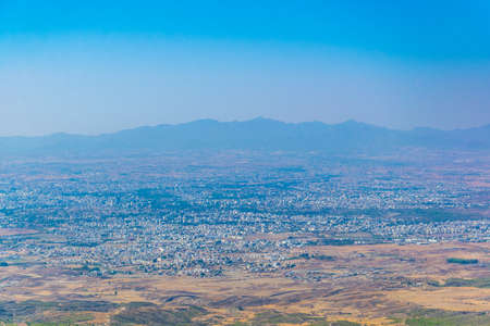 Aerial view of NicosiaLefkosa from Buffavento castle in Cyprus Imagens
