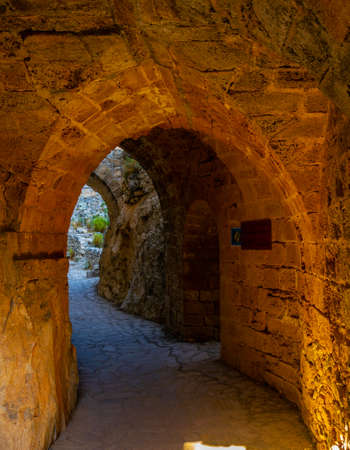 A corridor of St. Hilarion castle in the northern Cyprus