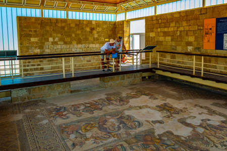 PAPHOS, CYPRUS, AUGUST 18, 2017: Mosaics at Paphos Archaeological Park on Cyprus