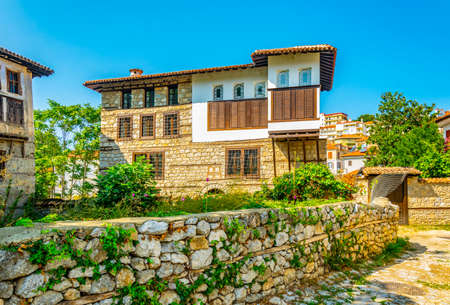 Old wooden mansions in Kastoria, Greece Stock Photo