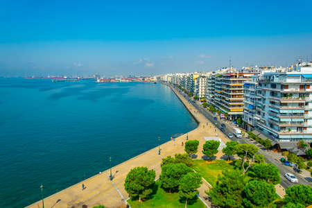 Aerial view of seaside promenade in Thessaloniki from the white tower, Greece