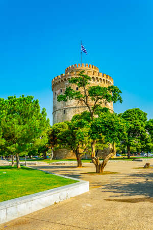 White tower at seaside promenade in Thessaloniki, Greece