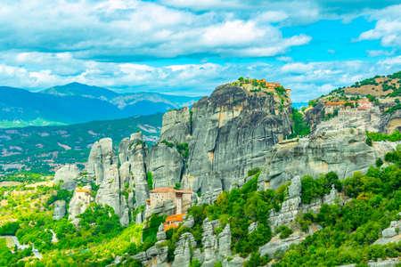 Monasteries of Varlaam, Roussanou, Saint Nicholas Anapavsa and great meteor monastery at Meteora, Greece