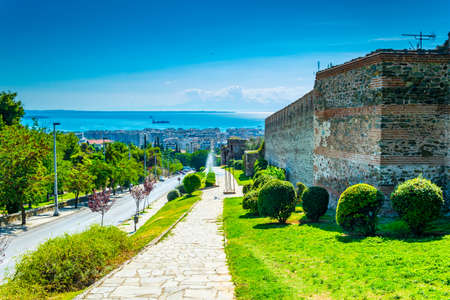 Aerial view of Thessaloniki alongside an old fortification, Greece Stock fotó